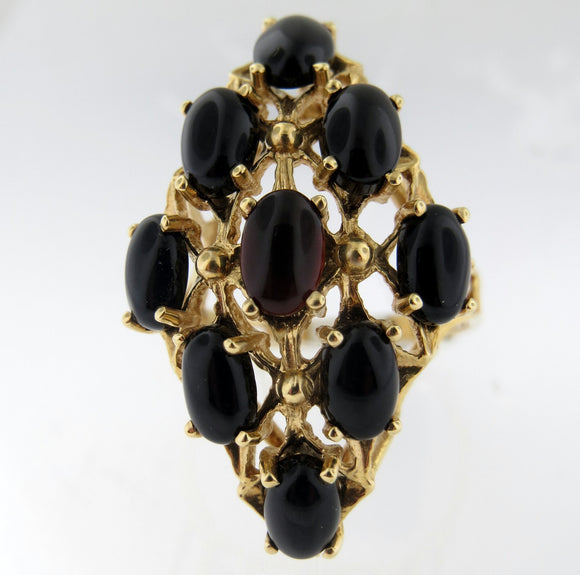 Vintage 14k Yellow Gold Onyx Cocktail Ring