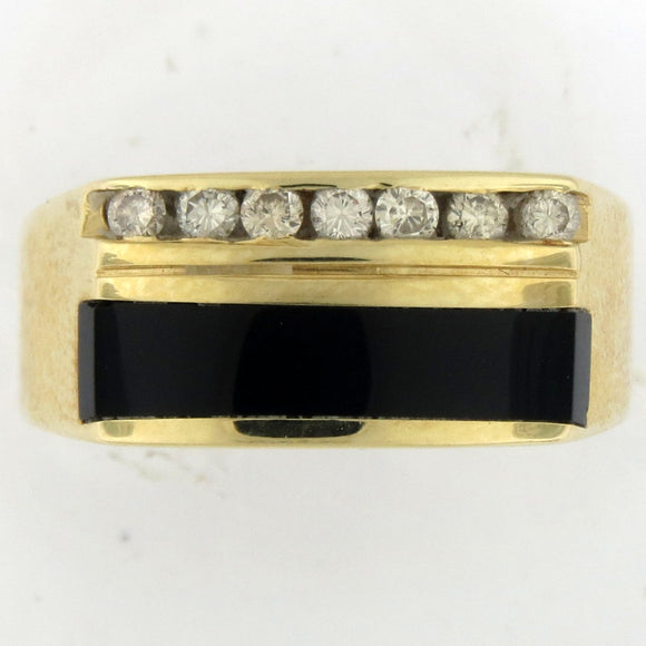 14k Yellow Gold Ring With Diamonds & Onyx
