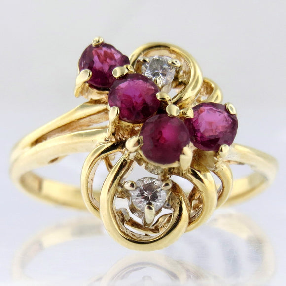 14k Yellow Gold Ring With Natural Rubies & Diamonds