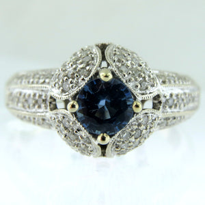 14k White Gold Ring With 0.75Ct Natural Sapphire & Diamond Pave Ring