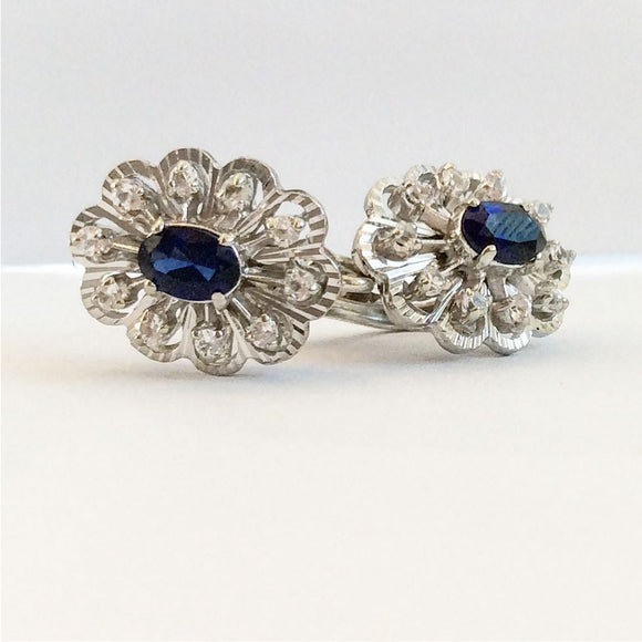 18kwg Sapphire Diamond Earrings