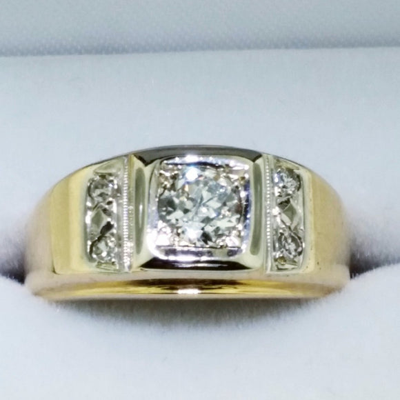 14k Yellow Gold Diamond Ring - 0.53 Carat Center Diamond