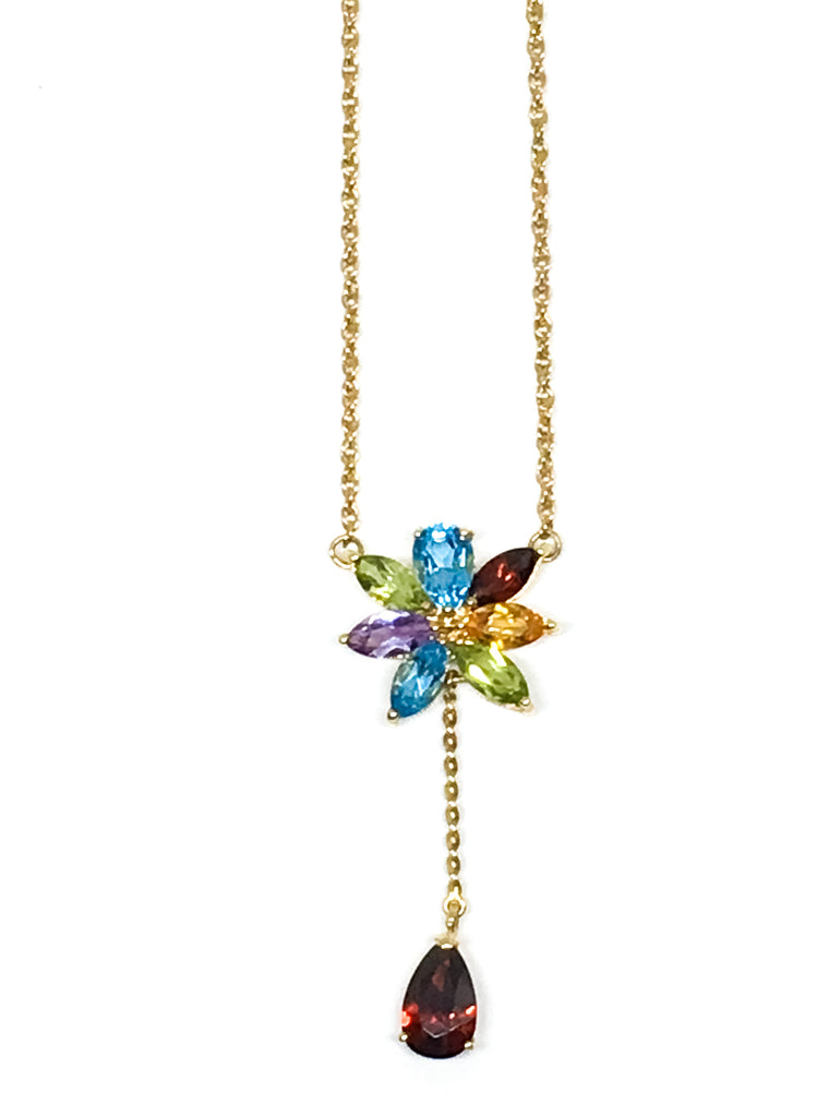 14KYG Floral Stone Necklace