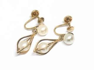 14KYG Teardrop Caged Pearl Dangle Earrings
