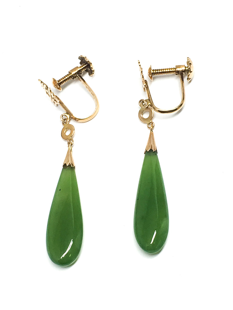 14KYG Jade Teardrop Dangle Earrings