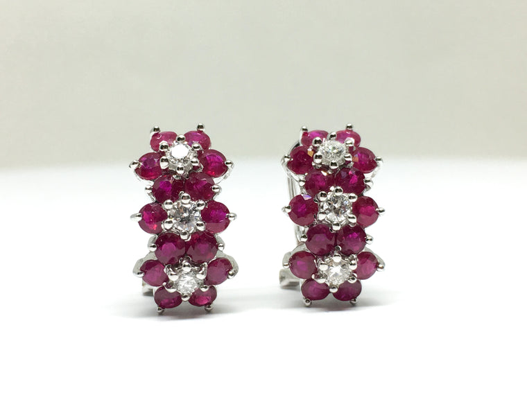 14KWG Floral Ruby & Daimond Burst Earrings