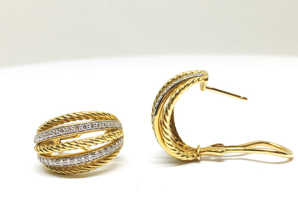 18KYG Interchanging Diamond and Gold Rope Strand Earrings