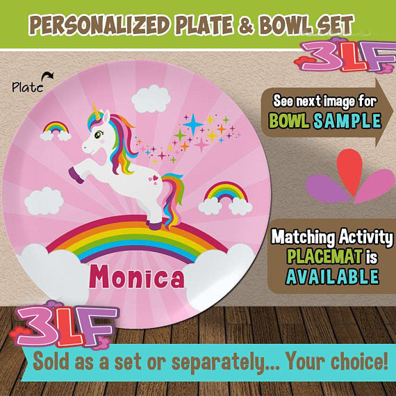 Personalized Unicorn Plate and Bowl Set - Personalized Plastic Children Plate and Cereal Bowl - Kids  sc 1 st  Kids : personalized plastic plates for kids - pezcame.com