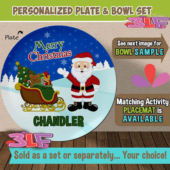 Santa and Sled Plate and Bowl Set - Personalized Plastic Children Plate \u0026 Cereal Bowl - & Kids