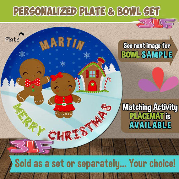 Gingerbread Plate and Bowl Set - Personalized Plastic Children Plate Cereal Bowl - Kids Dishes Mealtime & Kids