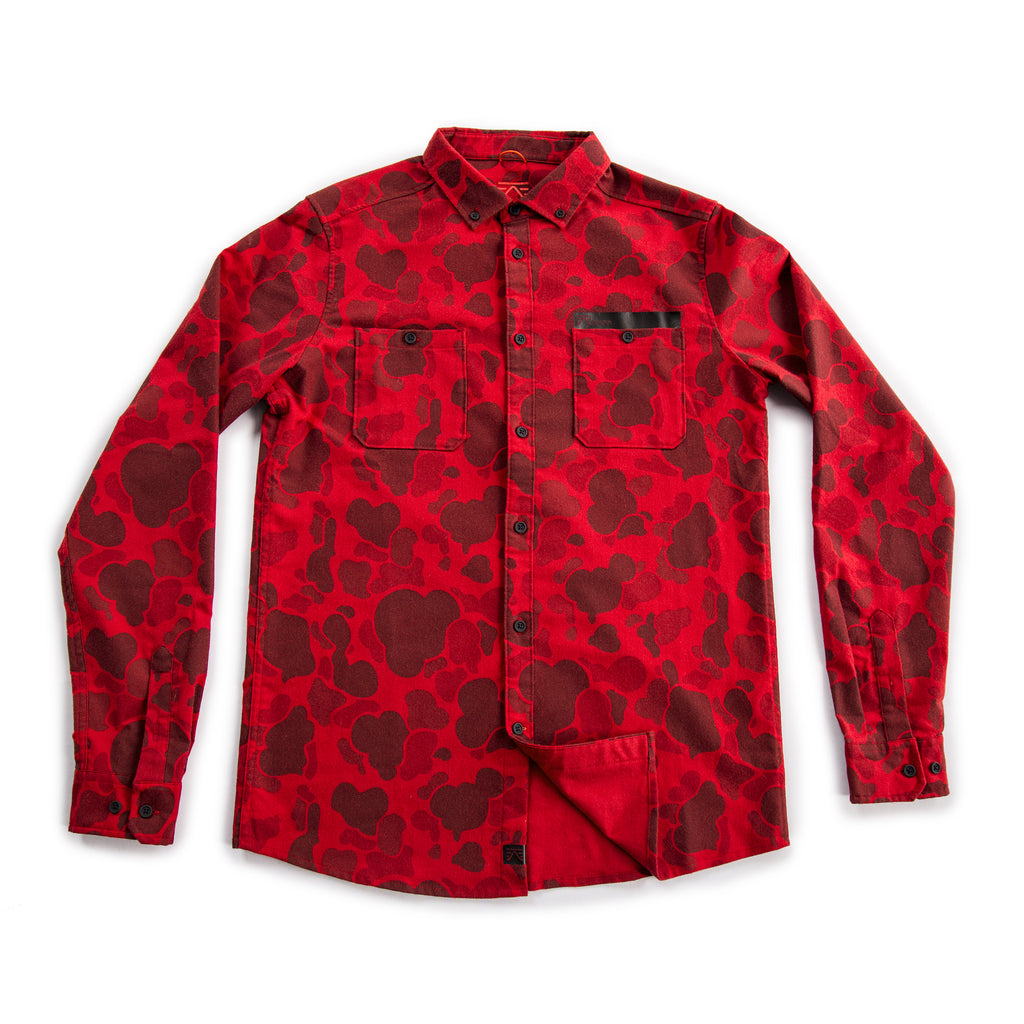 Foehn rock climbing Collins Flannel Shirt Red Duck Camo