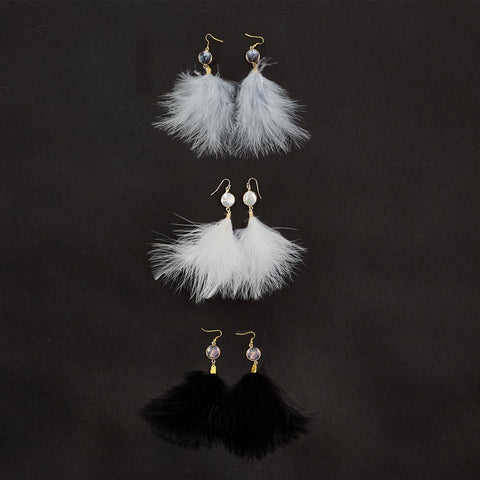 Soft Accents Feather Earrings with Genuine Pearl