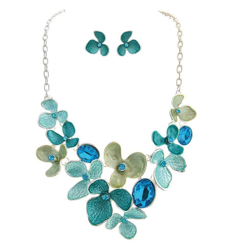 Blue & Silver Orchid Necklace Set