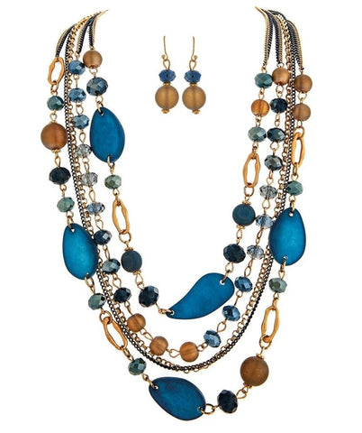 GOLD CHAIN BLUE BEADS NECKLACE SET