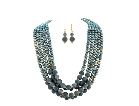 GOLD MATTE BLUE BEAD NECKLACE SET