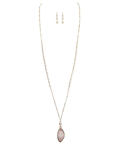 WHITE DRUZY On LONG GOLD CHAIN NECKLACE SET