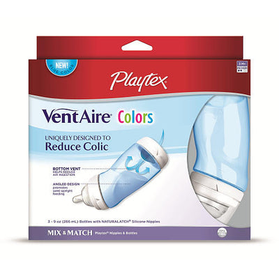 Kit 3 Mamadeiras Azul 266ml - Playtex