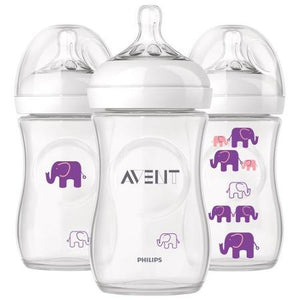 Kit 3 Mamadeiras Elefante 260ml - Rosa - Avent Philips