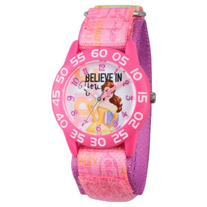 Disney Girls Belle Pink Plastic Time Professor Relógio - Rosa