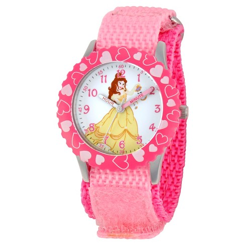 Girls 'Disney® Princesa Belle Aço Inoxidável Time Watch Professor - Pink