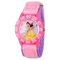 Girls' Disney Princess Belle Pink Plastic Time Teacher Watch - Pink