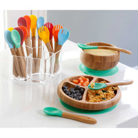 Bambu Avanchy + Silicone Sucção Toddler Plate + Spoon in Green