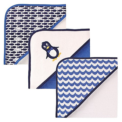 Luvable Friends 3-Pack Pinguim Com Capuz Toalha Set in Blue
