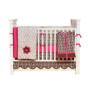 Kit de Berço - Damask Pink & Chocolate - Bacati
