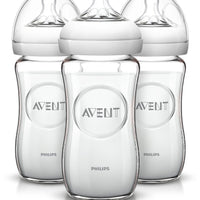 kit 3 Mamadeira Vidro - Natural Flow -Avent Philips 240ml