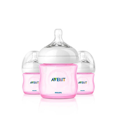 Kit 3 Mamadeiras - Natural Flow Rosa - Avent Philips 120ml