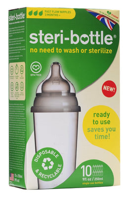kit Mamadeiras Descartaveis 250ml - Steri-Bottles - 10uni