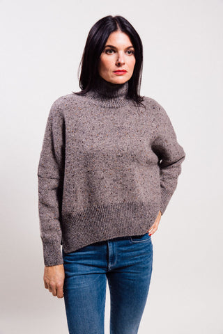 Gentry Portofino's Loose fit roll neck sweater with side slit.