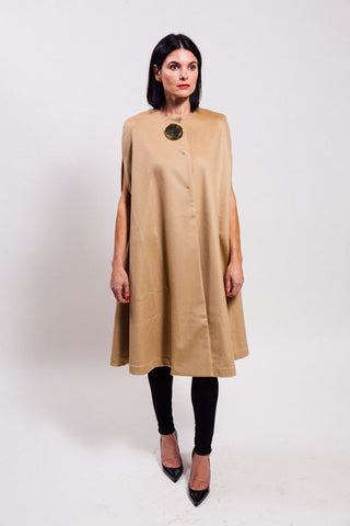 COs textured flannel cape with broach
