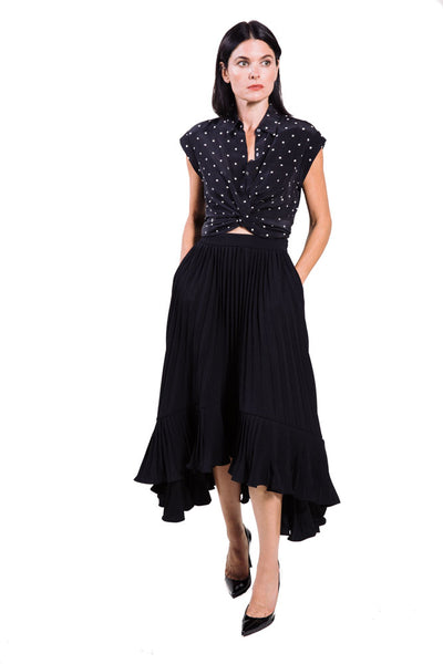 Pleated Japanese crepe cascade skirt by Co.