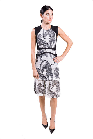 Yigal Azrouel Cheetah sleeveless leopard embroidered lace