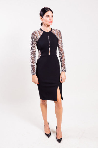 Long sleeve mechanical stretch dress by Yigal Azrouel.