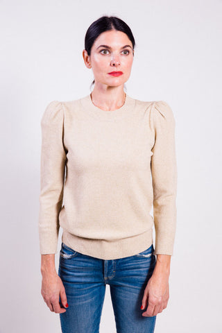 Gold-tone natural puff sleeve sweater by Co.