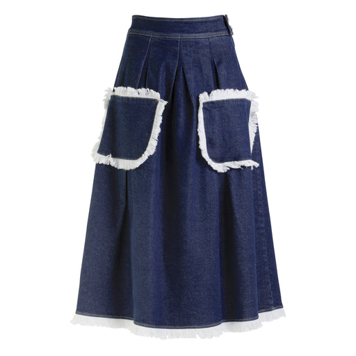 Denim Midi Skirt in Indigo