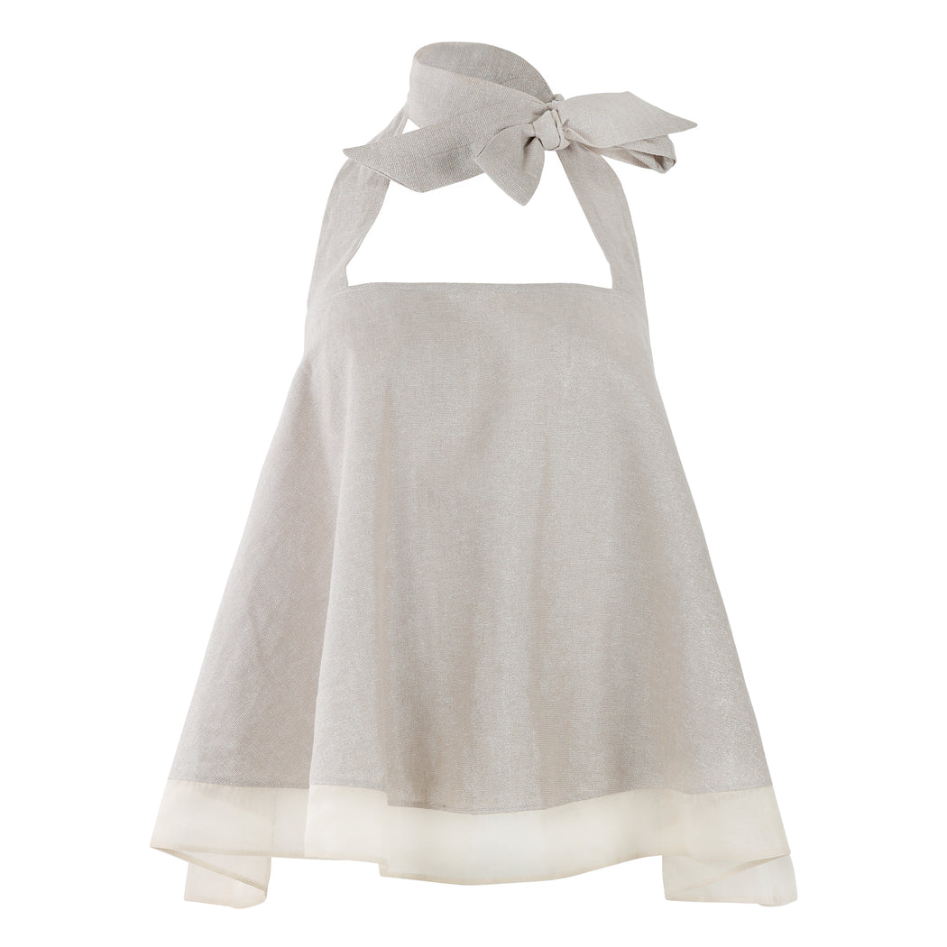 Frilly Top with Bow Tie in Beige