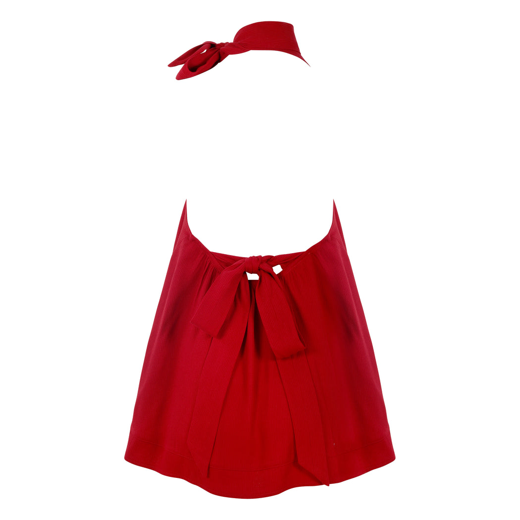 Frilly Top with Bow in Red