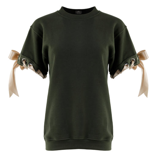 Crewneck with Ribbon in Olive
