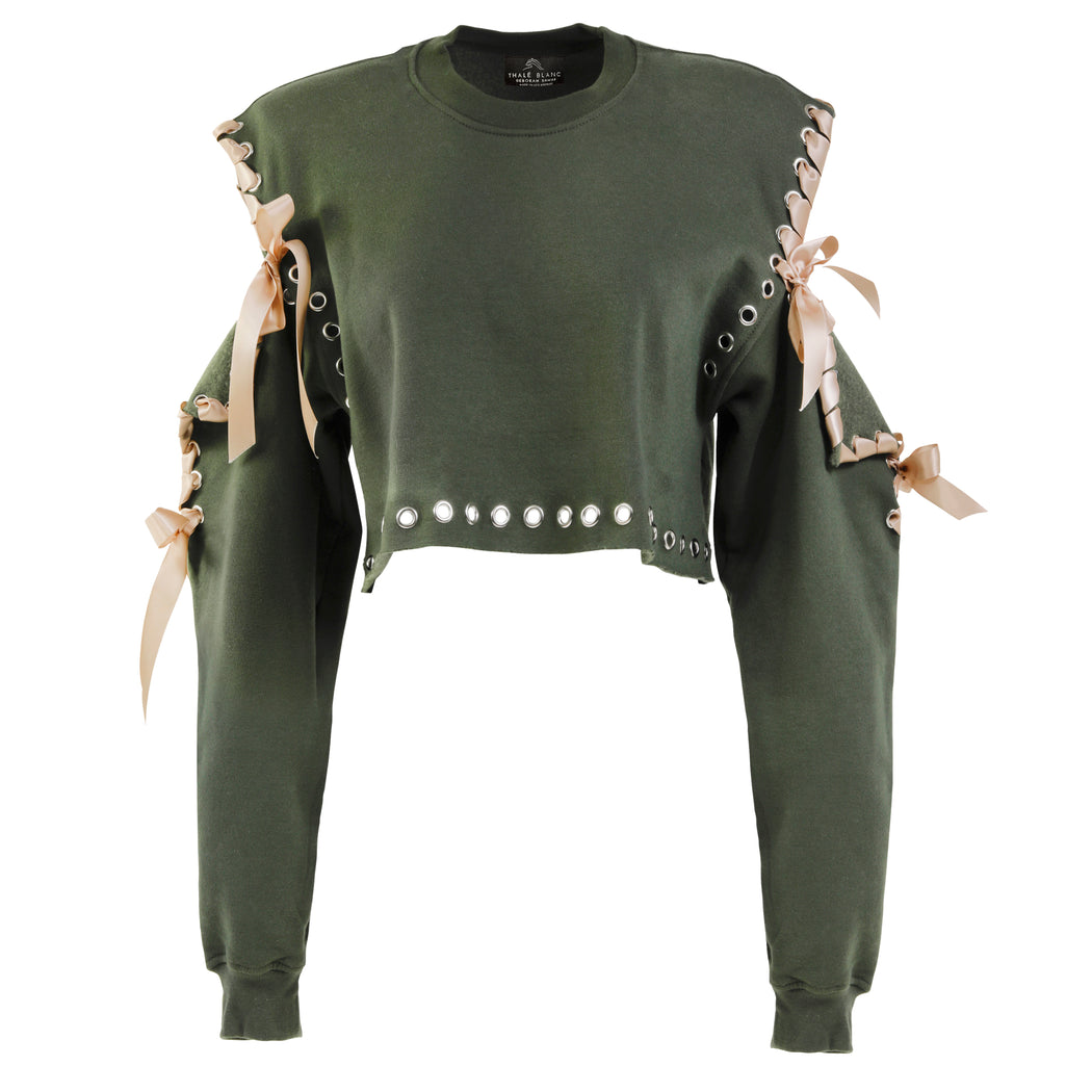 Cold Shoulder Long Sleeve Crewneck in Olive