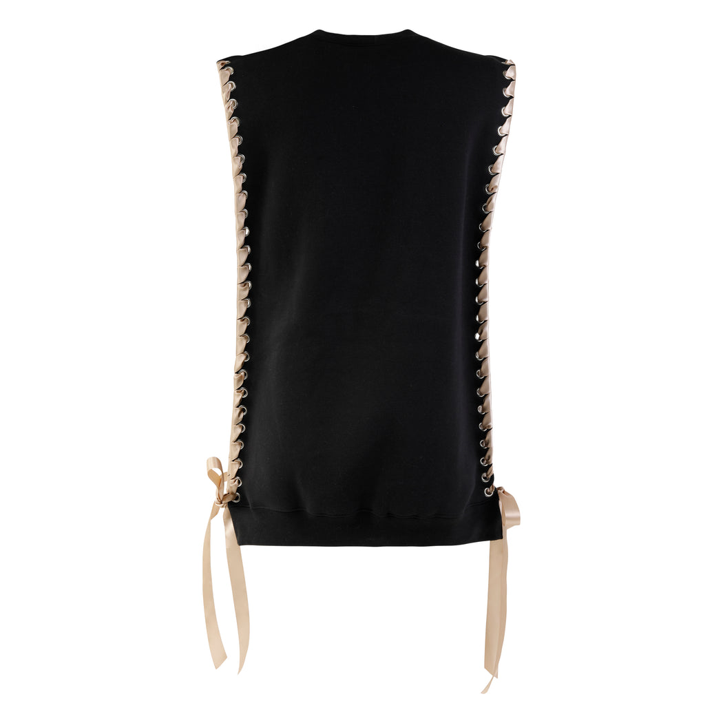 Sleeveless Crewneck with Ribbon in Black