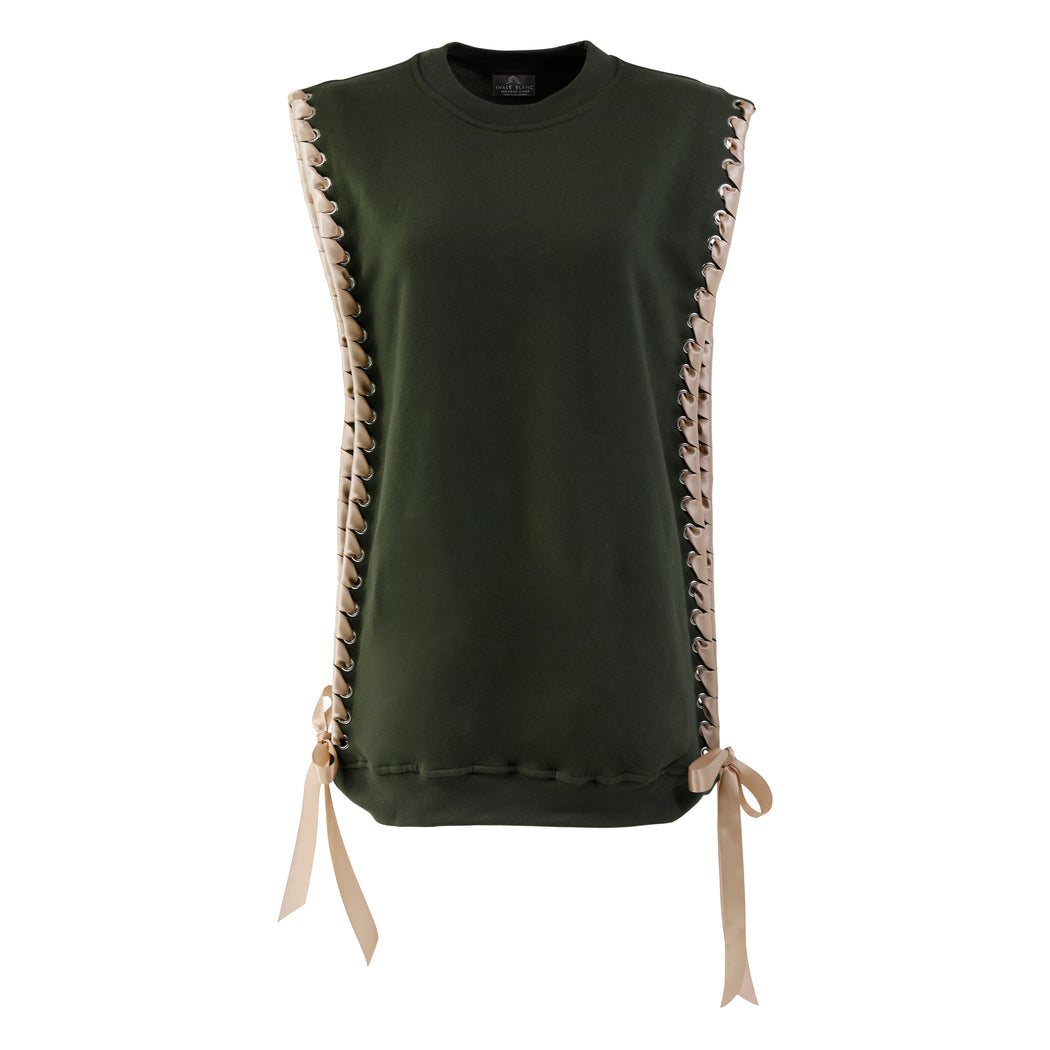 Sleeveless Crewneck with Ribbon in Olive