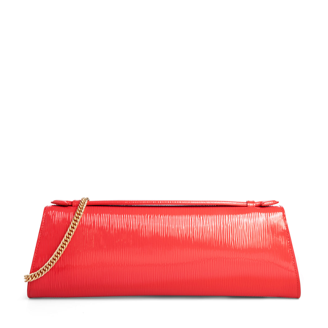 Designer evening clutch bag, in red leather, with gold chain strap