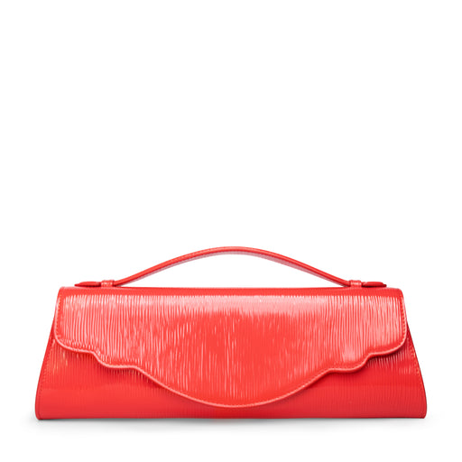 Women's designer evening bag in red embossed leather
