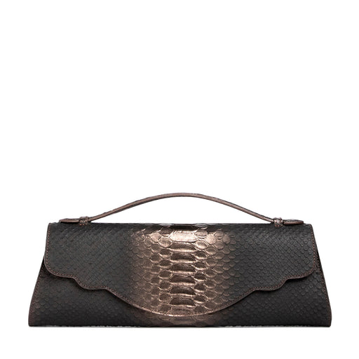 Designer evening bag: Snakeskin purse in pewter leather