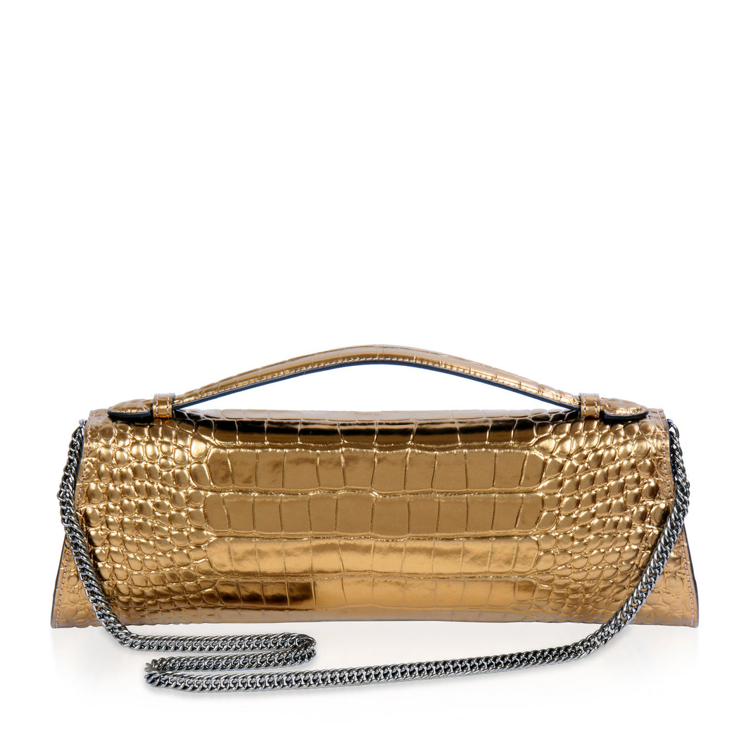 Designer evening purse: Croc-embossed handbag with chain strap