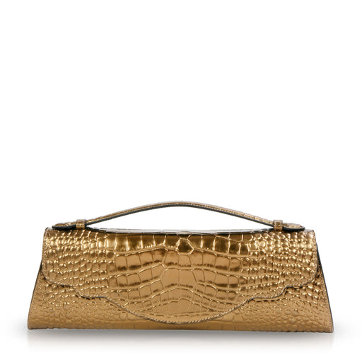 Designer evening clutch: Metallic gold handbag in croc-embossed leather