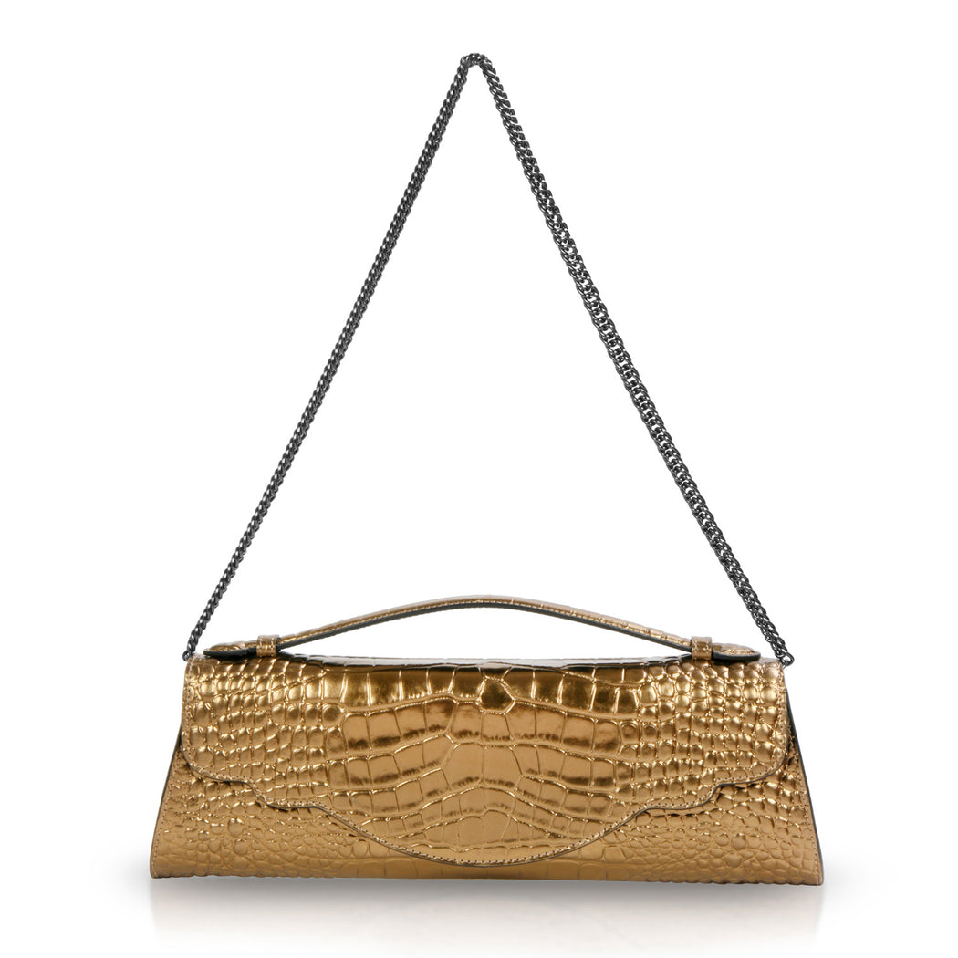 Designer clutch bag: Gold evening bag in croc-embossed leather